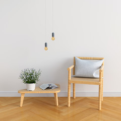 Wood chair in white room for mockup, 3D rendering