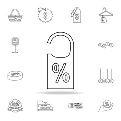 door tag percentage icon. Detailed set of clearance sale icons. Premium graphic design. One of the collection icons for websites, web design, mobile app