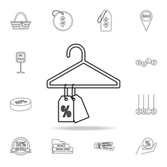 discount tags on the hanger icon. Detailed set of clearance sale icons. Premium graphic design. One of the collection icons for websites, web design, mobile app