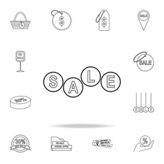 the word sale in circles icon. Detailed set of clearance sale icons. Premium graphic design. One of the collection icons for websites, web design, mobile app