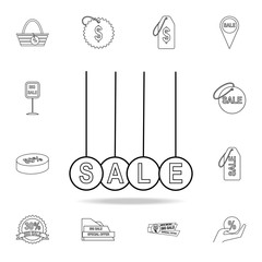 Hanging balls with the word sale icon. Detailed set of clearance sale icons. Premium graphic design. One of the collection icons for websites, web design, mobile app