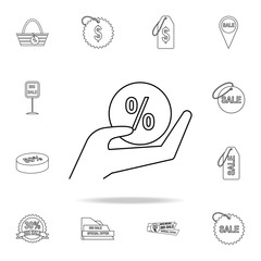 hand with a percent ball icon. Detailed set of clearance sale icons. Premium graphic design. One of the collection icons for websites, web design, mobile app