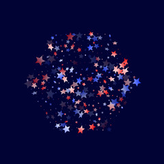 Flying red blue white star sparkles vector american patriotic background.