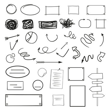 Abstract arrows. Grunge geometric signs on white. Hand drawn tangled symbols. Chaotic shapes for design. Line art. Circles, ovals and rectangle frames. Black and white illustration
