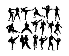 Karate and Martial Art Activity Silhouettes, art vector design