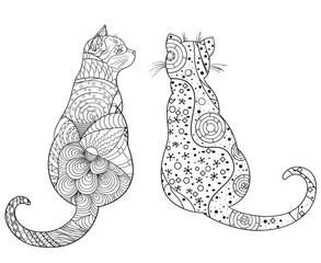 Cats on white. Zentangle. Hand drawn animals with abstract patterns on isolation background. Design for spiritual relaxation for adults. Black and white illustration for coloring