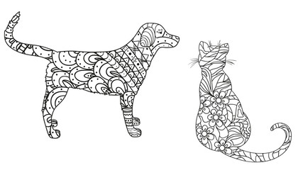 Dog and cat on white. Hand drawn animals with abstract patterns on isolation background. Design for spiritual relaxation for adults. Black and white illustration for coloring. Zen art