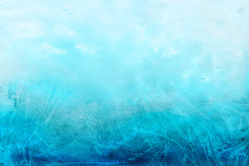 Colorful winter blue ink and watercolor textures on white paper background. Paint leaks and ombre effects. Hand painted abstract image.
