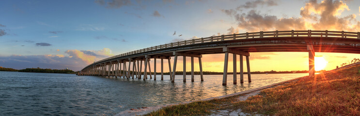 Sunset over Bridge along Estero Boulevard, crossing over New Pass from Estero Bay in Bonita Springs Wall mural