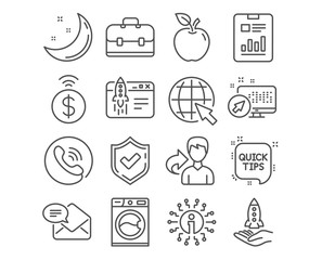 Set of Portfolio, Start business and Crowdfunding icons. Internet, Washing machine and Contactless payment signs. New mail, Quick tips and Report document symbols. Vector