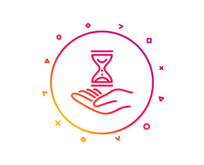 Time hourglass in hand line icon. Sand watch sign. Gradient pattern line button. Time hourglass icon design. Geometric shapes. Vector