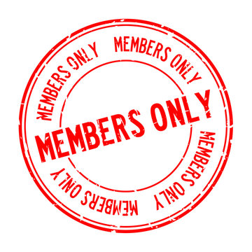 Grunge red members only word round rubber seal stamp on white background