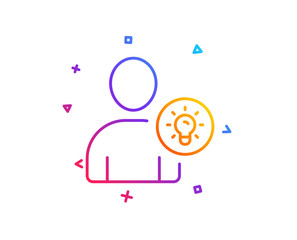 User line icon. Profile with Lamp bulb sign. Person silhouette with idea symbol. Gradient line button. User idea icon design. Colorful geometric shapes. Vector