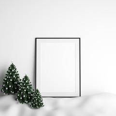 Mock Up Poster Frame Interior White Christmas Winter Decoration