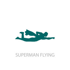 Superhero Flying Pose Logo Template, Superhero Silhouette Vector