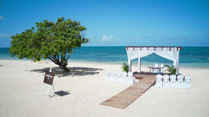 Preparations for wedding at the caribbean sea, Jamaica