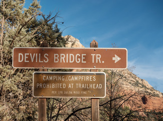 Devil's Bridge Trail, sign,Sedona, Arizona
