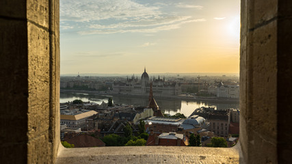 Wall Mural - Budapest cityscape skyline with view of Danube River in Hungary