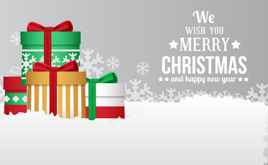 Christmas banner celebration template with gift box on the snow. Vector illustration