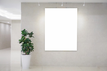 Three blank posters on the wall in bright office interior with clipping path around banner