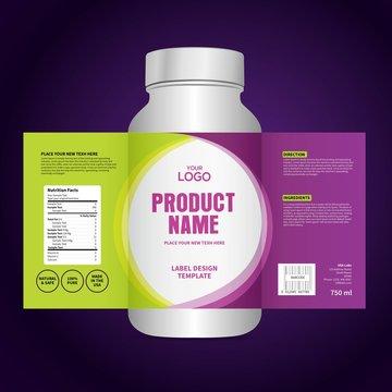 Bottle label, Package template design, Label design, mock up design label template
