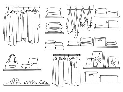 Shelves set graphic black white isolated sketch wardrobe illustration vector