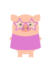 Pig Disco. Funny pig girl in a dress for disco. A pig with glasses and a dress. Cartoon, vector