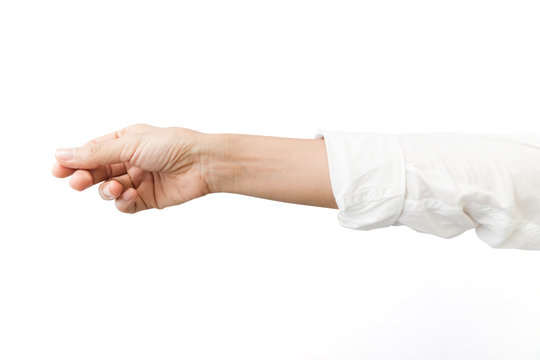 Hand business woman white sleeve on white background, clipping path Isolated.