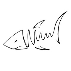 Abstact hand drawing of fish in line art style.