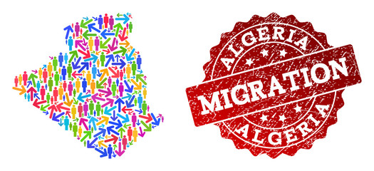 People travel traffic combination of mosaic map of Algeria and scratched seal stamp. Mosaic map of Algeria is designed with different colored arrows and men.