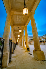 Column Walkway Passage at the Palais-Royal is a palace located in the 1st arrondissement of Paris. The screened entrance court faces the Place du Palais-Royal, opposite the Louvre
