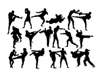 Martial Art Activity Silhouettes, art vector design