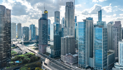 Wall Murals Central America Country Chicago skyline aerial drone view from above, lake Michigan and city of Chicago downtown skyscrapers cityscape, Illinois, USA