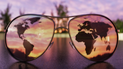 Travel Sunglasses Concept - 3D Illustration Wall mural