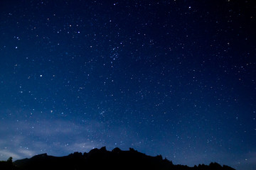 Mount Kinabalu night sky with stars