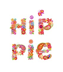 Colorful hippie lettering print with colorful abstract flowers, fly agaric and hippy peace symbol for t shirt design
