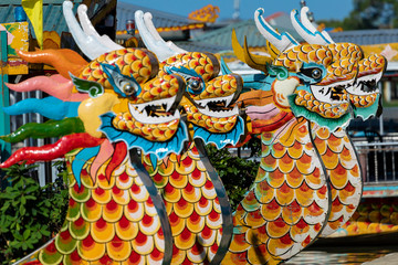 Traditional Dragon Boat on the Perfume River in Hue, Vietnam