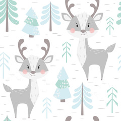 Deer baby winter seamless pattern. Cute animal in snowy forest christmas print.