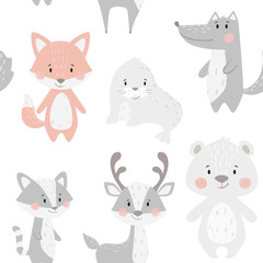 Fox baby winter seamless pattern. Cute animal in snowy forest christmas print