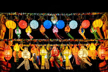 colourful Lanna style Yi Peng Lanterns in Loy Krathong festival of Chiang Mai, Thailand