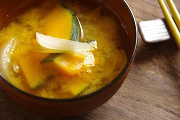 カボチャの味噌汁 お味噌汁 Miso soup of pumpkin