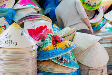 Traditional bamboo hats made on Hue, local market. Souvernir from Vietnam.