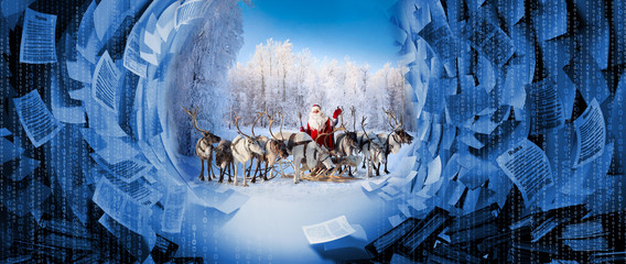 Santa Claus and his deer in Cristmas holiday