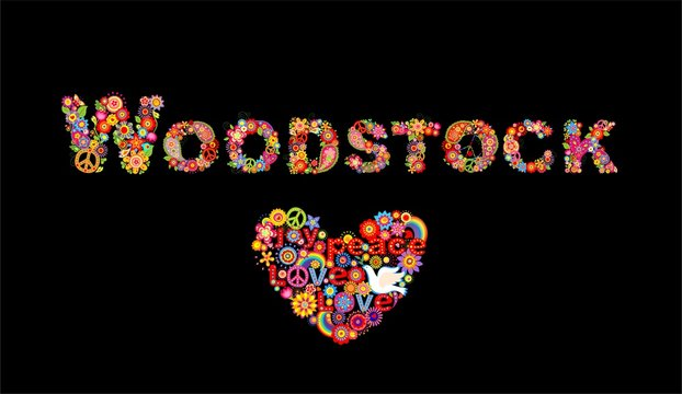 Colorful Woodstock flowers lettering and hippie heart shape with flower power, rainbow and paper dove for t shirt print, party poster and other design on black background