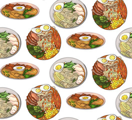 Seamless pattern with coloring cartoon illustration of  ramen in different angles. Noodles. Vector texture for wallpaper, wraps, fabric and your crativity
