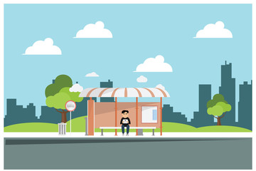 flat illustration waiting for bus at bus stop, vector illustration