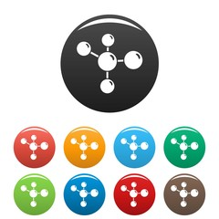Chemistry molecule icons set 9 color vector isolated on white for any design