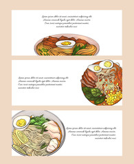 Set of horizontal banners with colorful cartoon illustration of  ramen in different angles. Noodles. Objects separate from the background. Vector template for menus, sites, cards and your design.