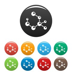 Molecule formula icons set 9 color vector isolated on white for any design