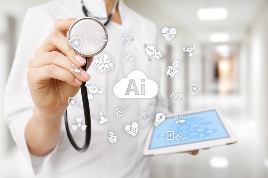 AI, artificial intelligence, in modern medical technology. IOT and automation.
